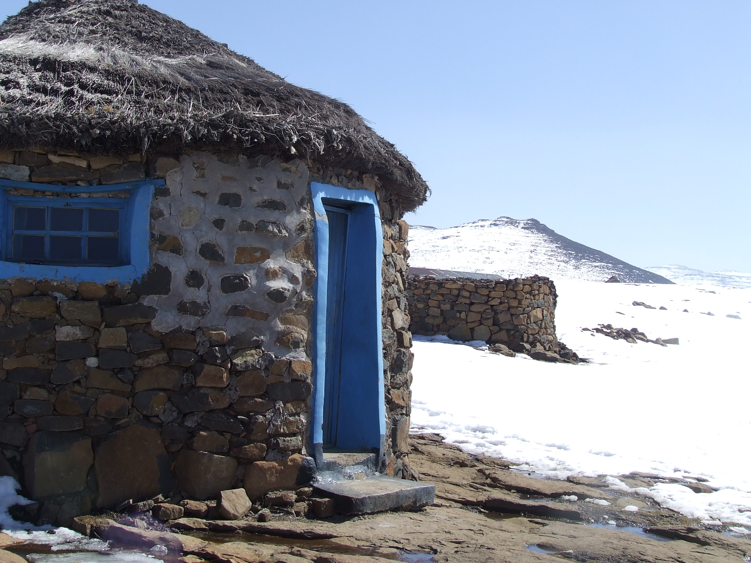 Village in the snow, Lesotho