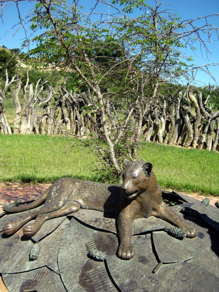 Buffalo thorn & leopard statue